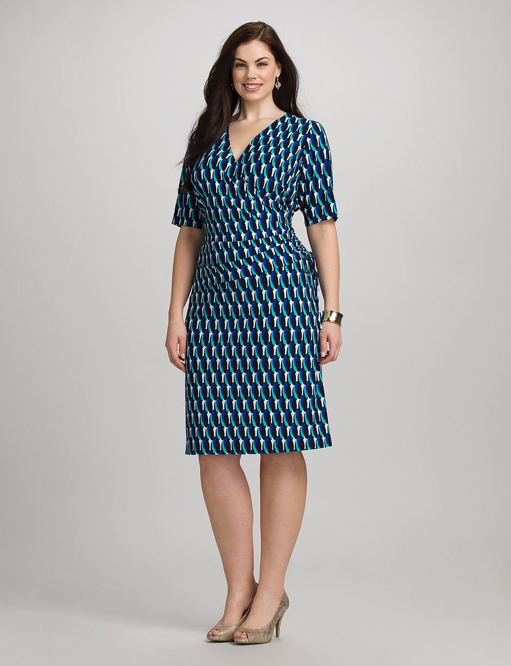 plus size | dresses | work dresses | plus size geometric v-neck