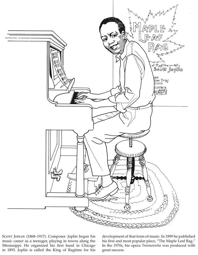African American Scott Joplin Coloring Books Black History Month Preschool Coloring Pages