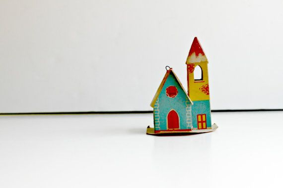 Small Vintage Cardboard paper house ornament by feathermar on Etsy, $8.00
