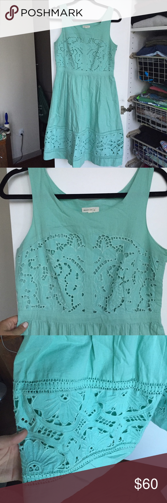 Mint green dress Worn once, embroidered cotton dress, beautiful mint green, lined, hits slightly below the knee Anthropologie Dresses Midi
