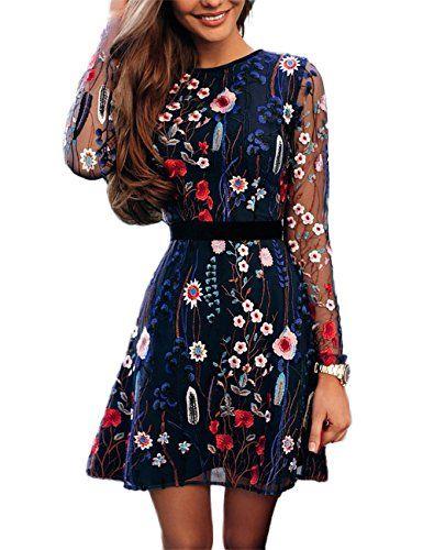 e1f89c0ba19 Ivrose Womens Floral Embroidery Casual Mesh Dress M multi... https