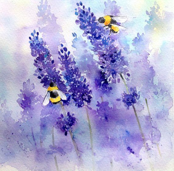 Bees and Lavender step by step painting project