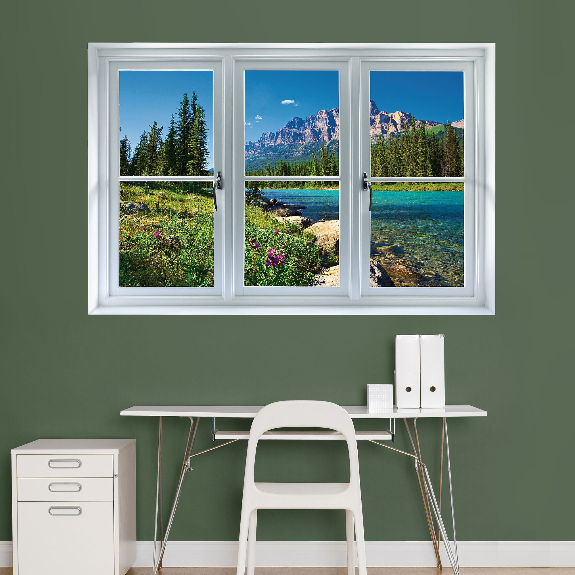 instant window banff mountains in bloom giant removable wall graphic new home pinterest. Black Bedroom Furniture Sets. Home Design Ideas