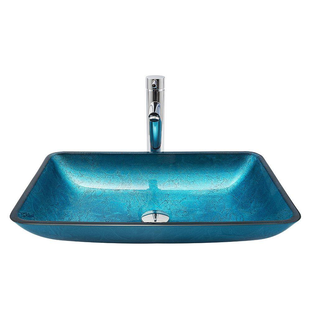 Vasque A Poser Rectangle En Verre Trempe Bleue Retro Pour Salle De Bains Bassin En Verre Vasque A Poser Vasque