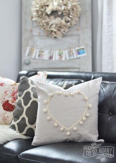 DIY pom-pom heart Valentine pillow