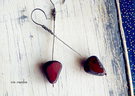 long red earrings sterling silver earrings long by MisMundos, $60.00