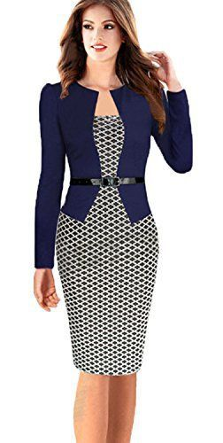 Babyonline Women Colorblock Wear to Work Business Party Bodycon One-piece  Dress f97538764227