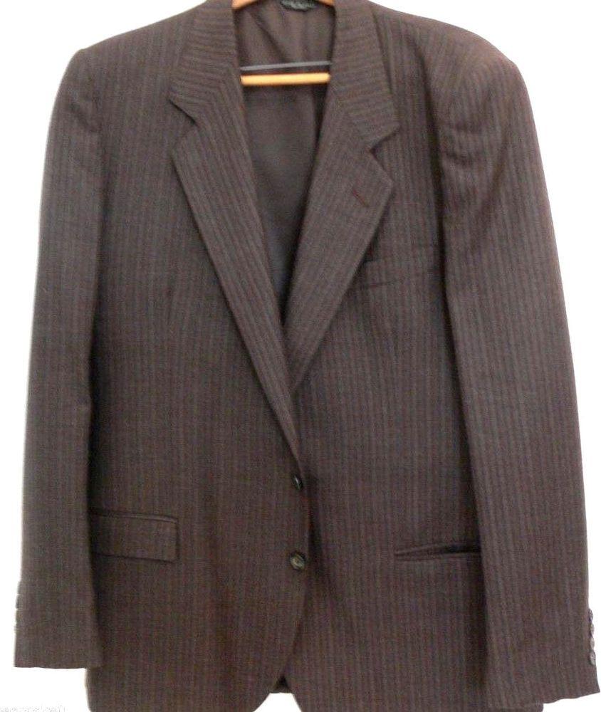 0f9f6f6f3 e.de simone Merino Wool Extra Fine Brown Blazer 44 L Pinstriped Jacket  Italy  Edesimone  Blazer