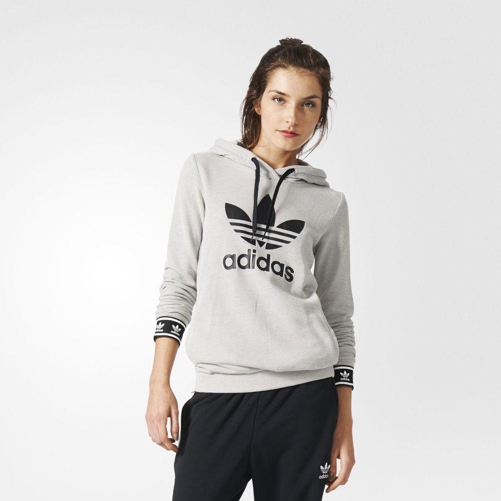adidas Originals Womens Berlin Slim Trefoil Hoodie Grey