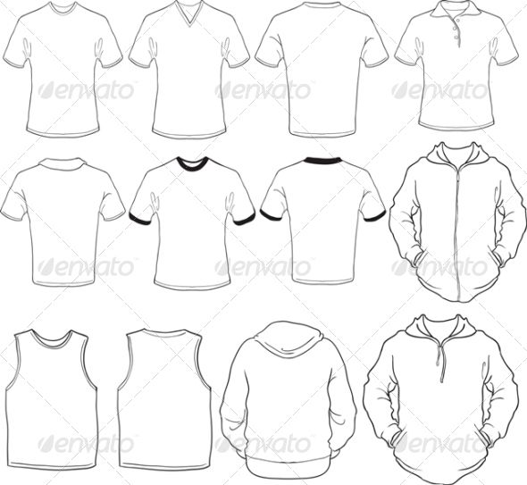 Male Blank Shirts Template Template, Font logo and Mockup - blank fashion design templates
