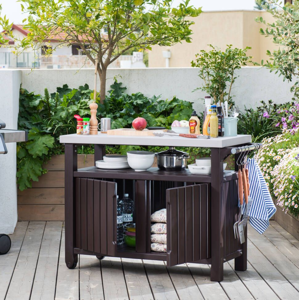Cambron Caster Bar Serving Cart Bbq Table Kitchen Prep Table Outdoor Kitchen