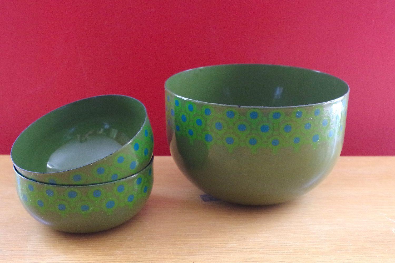 Vefa Mid Century Modern Bowls Enamel Metal Designed By Merrill Ames Lollipop Pattern Set Of 3
