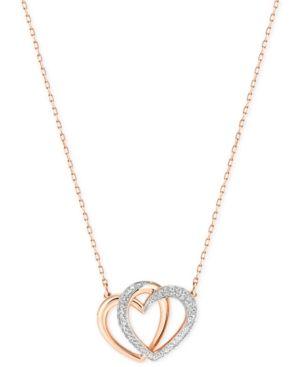 Swarovski Rose Gold-Tone Crystal Pave Interlocking Double Heart Pendant Necklace - Gold