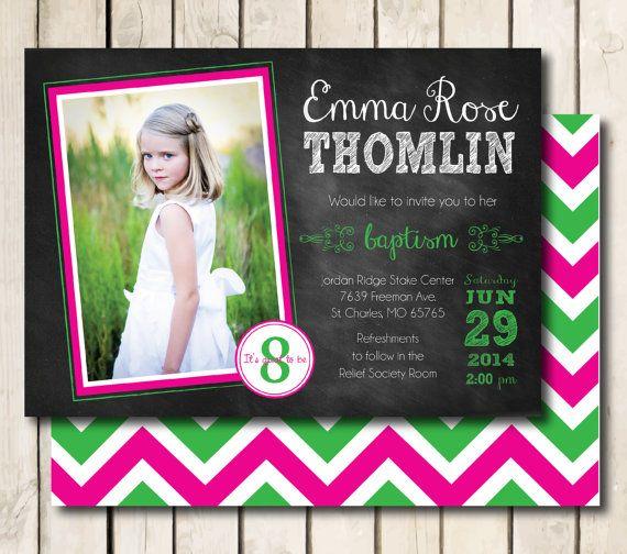 Lds Baptism Invitation Printable For Girls Chalkboard By Meckmom