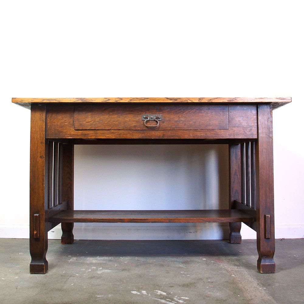 Antique Mission Oak Library Table Arts Crafts Solid Wood Desk Or Entry Table Craftsman Table Art Table Solid Wood Desk Library Table