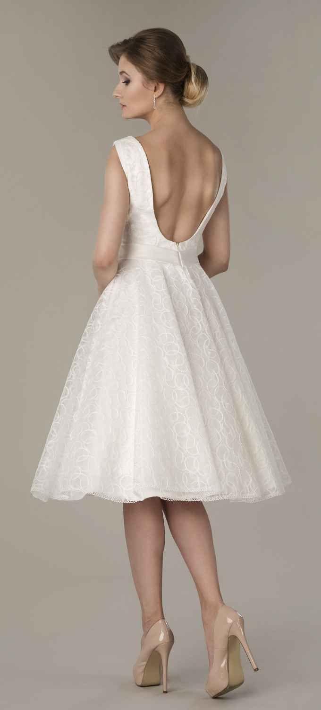Kurzes Brautkleid 50er Jahre Stil mit U-Boot Ausschnitt Rückenfrei