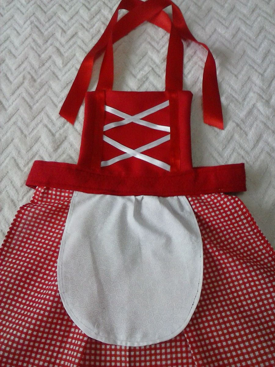 Avental da chapeuzinho vermelho feito em algodão,feltro e fita de ...