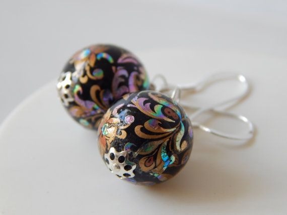 Japanese Style Tensha Bead Black Dangle Earrings In Sterling Silver by KowalaBeads