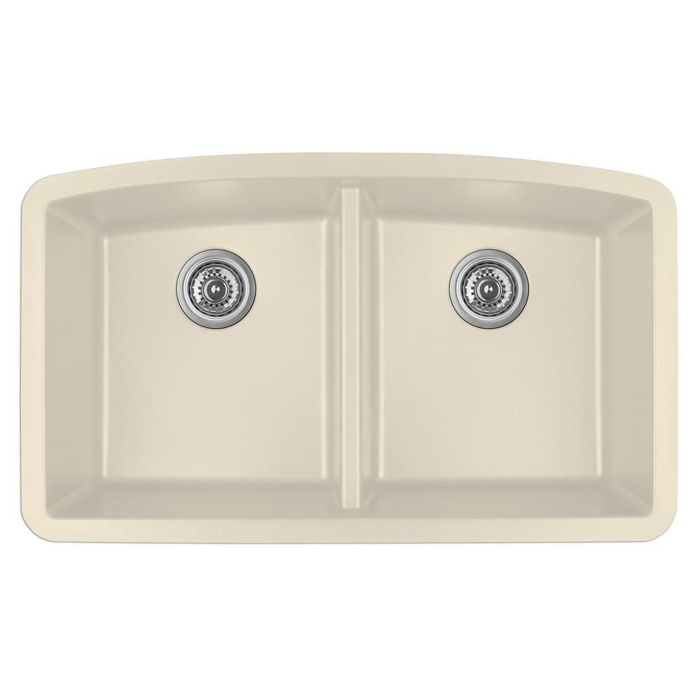 Karran Undermount Quartz Composite 32 In 50 50 Double Bowl Kitchen Sink In Bisque Qu 710 Bi Double Bowl Kitchen Sink Sink Double Basin