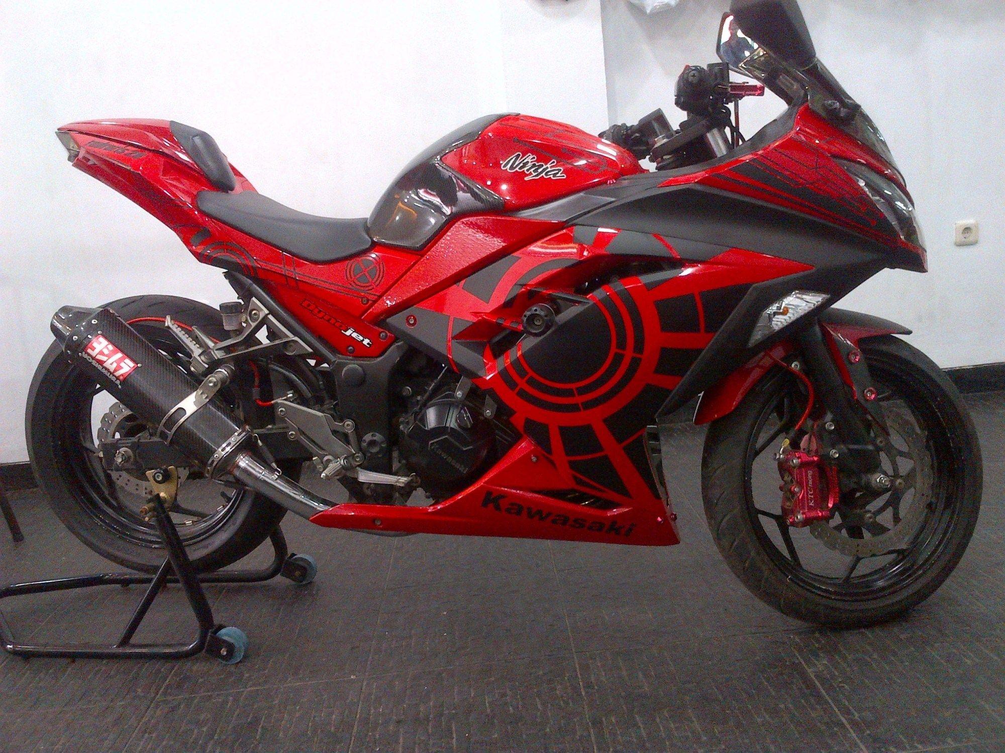 modifikasi motor kawasaki ninja 250 fi merah | modifikasi motor