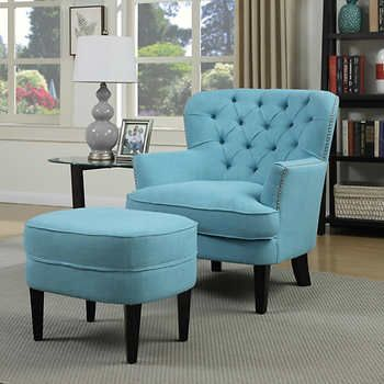 Petra Fabric Accent Chair and Ottoman | living room colors | Pinterest