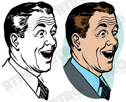 A Portrait Of A Man With A Happy Surprised Expression On His Face Vintage Retro Clipart Clip Art Stock Images Free Retro Futurism Retro