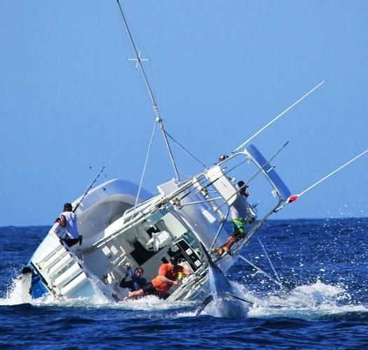 Fish saltwater blue marlin a bit too much for this boat for Salt water fishing boats
