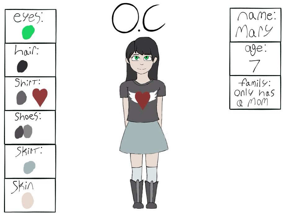 My O.C. Name: Mary Erwins. Age: 7 Family: only has a mom (Vanessa Erwins). Because, that's what she thinks. Personality: Happy, sometimes can be overly excited, If she gets angry she can be very aggressive.  Pets: A fish. Likes: sweets, playing outside, her Fish, rain. Dislikes: The dark, make up, she doesn't like skirts, but her mother makes her wear them. Sexuality: She's Too Young For That. Weapons: She's Too Young For That. Relationship: Sense she goes to the park almost everyday, she…