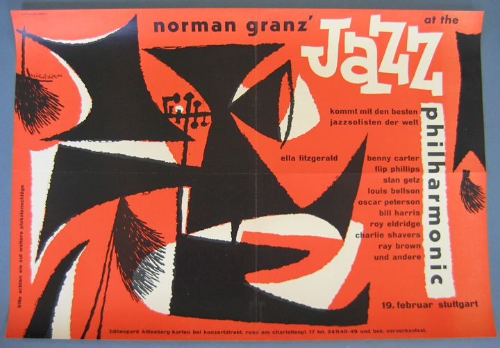 jazz at the philharmonic vintage 1954 german concert poster by gunther kieser
