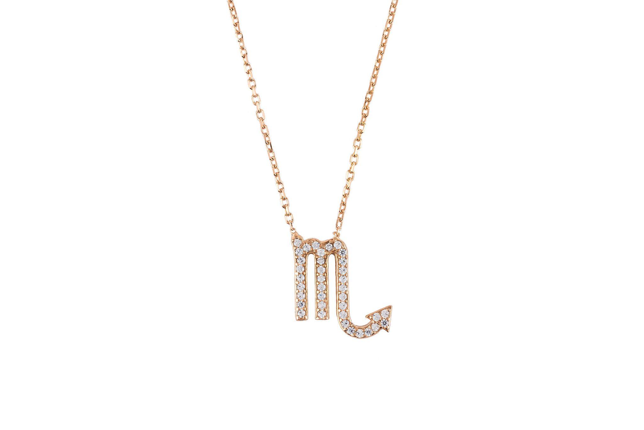 scorpio zodiac necklace rose gold Made of 925 sterling silver. Scorpios celebrate birthdays October 23 - November 21