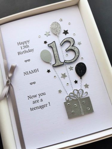 PERSONALISED 13th BIRTHDAY CARD Teenager Daughter Niece Etc Handmade Gift Boxed