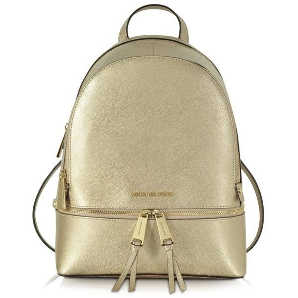 0cb778eaafd0 Michael Kors Rhea Zip Pale Gold Medium Backpack ( 298) ❤ liked on Polyvore  featuring