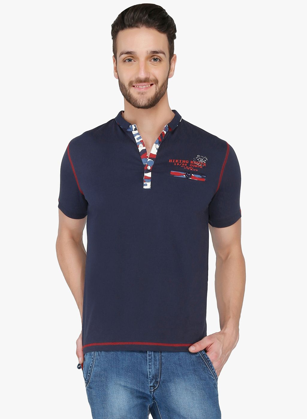 Buy Curve Navy Blue Solid Polo TShirt for Men Online