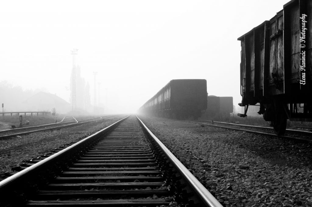 Railroad in fog #fog #railroad #train #black and white #metal #path #transport #track #line # #photo #photography #fliiby #images #yyazilim #people #nature