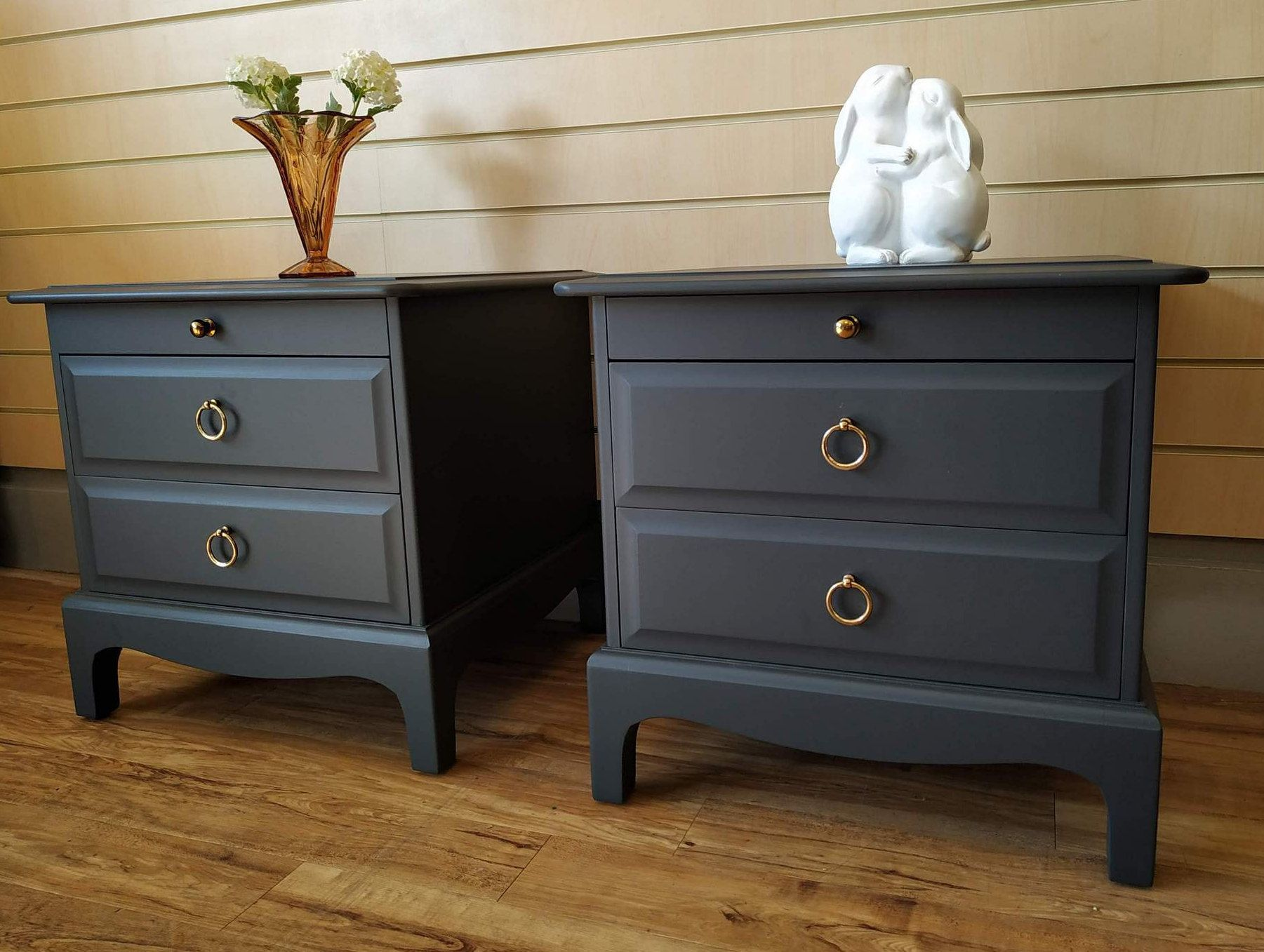 Sold Stag Minstrel Pair Vintage Retro Bedside Tables Cabinets Drawers Ash Grey Pull Out Slides Sold Retro Bedside Tables Upcycled Home Decor Home Decor