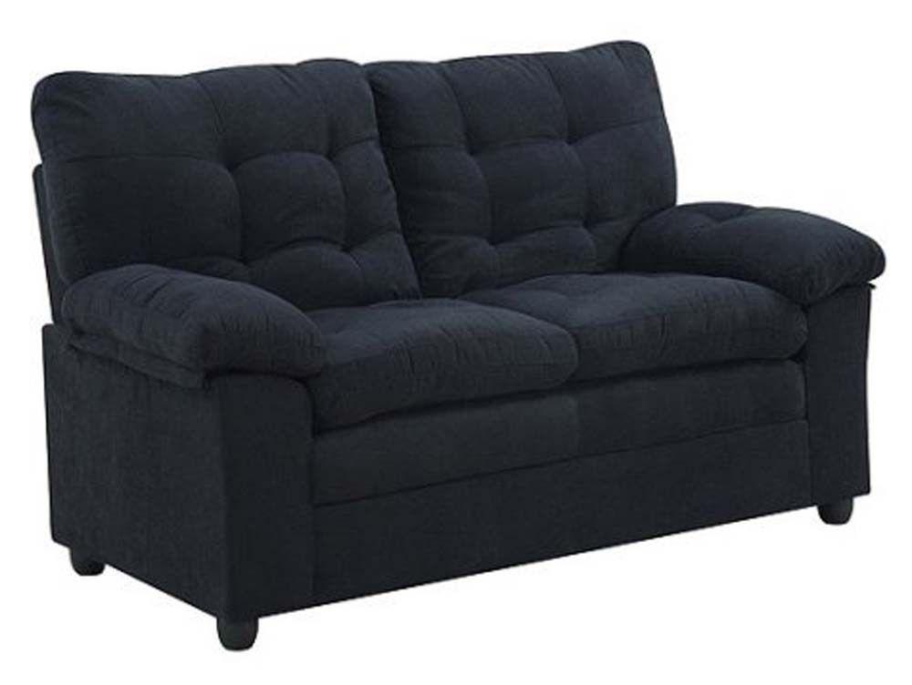 Superior Buchannan Microfiber Sofa Couch Bed Living Room Luxury Modern Loveseat  Black New