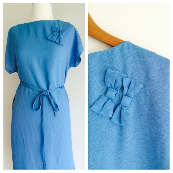 Baby blue with bows cute as a bug '70s vintage crepe by MrsJoyful, $38.00