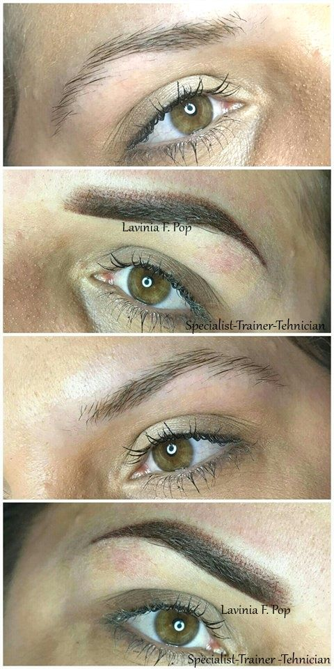 Eyebrows Before After Hairstroke Brows Powder Blonde