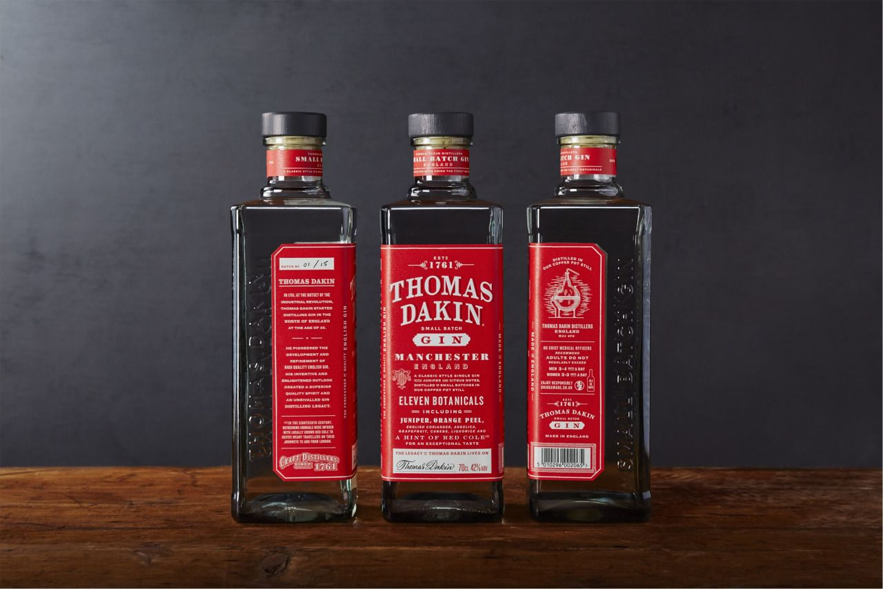 Packaging For Thomas Dakin Gin By Here Our Task Was To Communicate The Masculine Straight Talking Nature Of Thomas Gin Alcohol Packaging Bottle Label Design