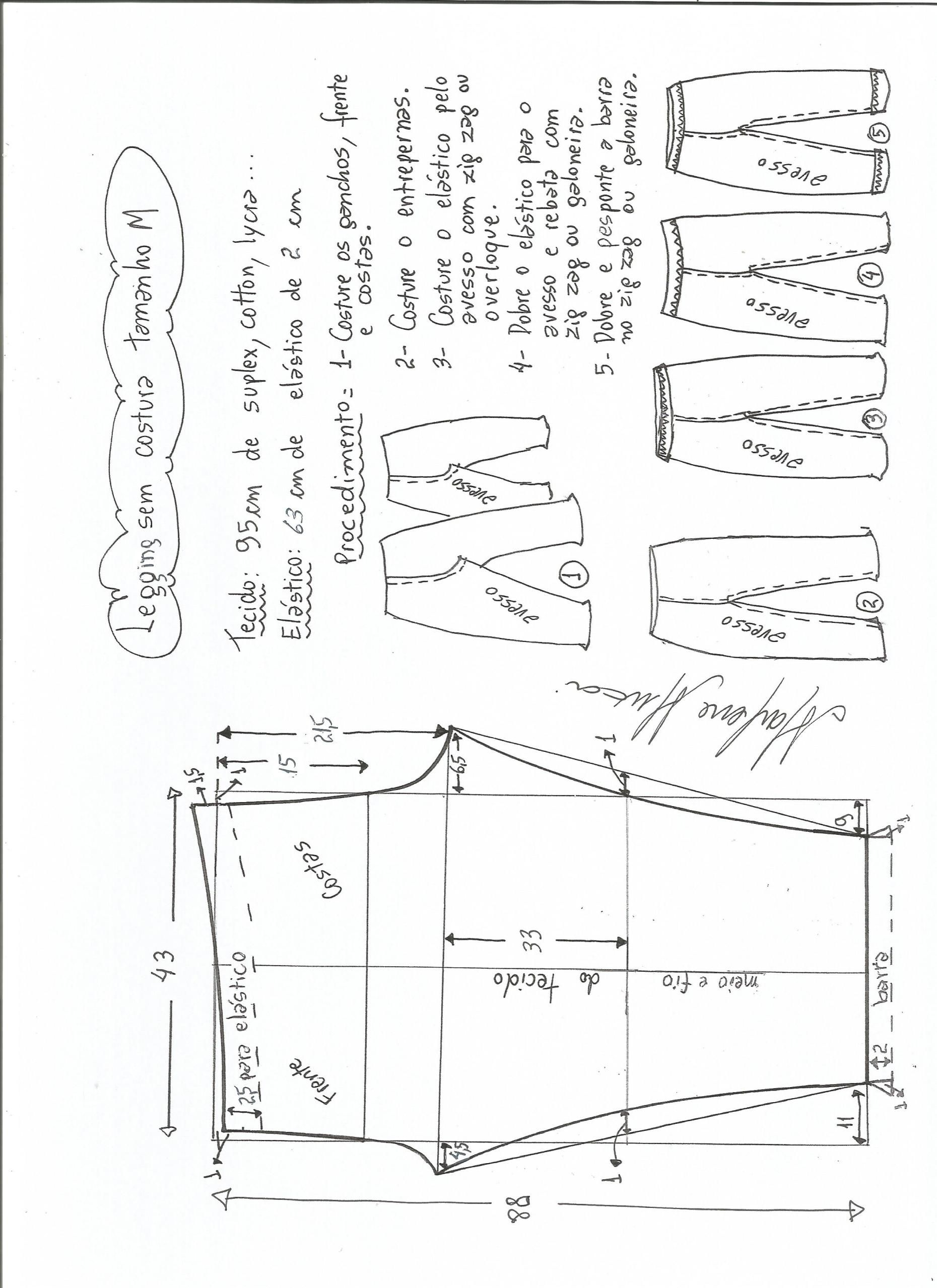 Legging sem costura lateral   SEWING/DESIGN   Pinterest   Sewing ...