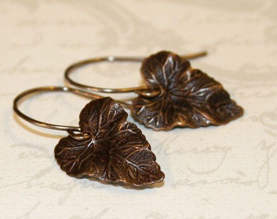 Leaf earrings woodland jewelry rustic by CharmingLifeJewelry, $15.00