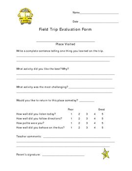 I Use This Form On All My Field Trips ItS A Great Management