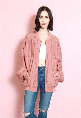 Vintage 1980's Rose Pink Silk Retro Bomber Jacket