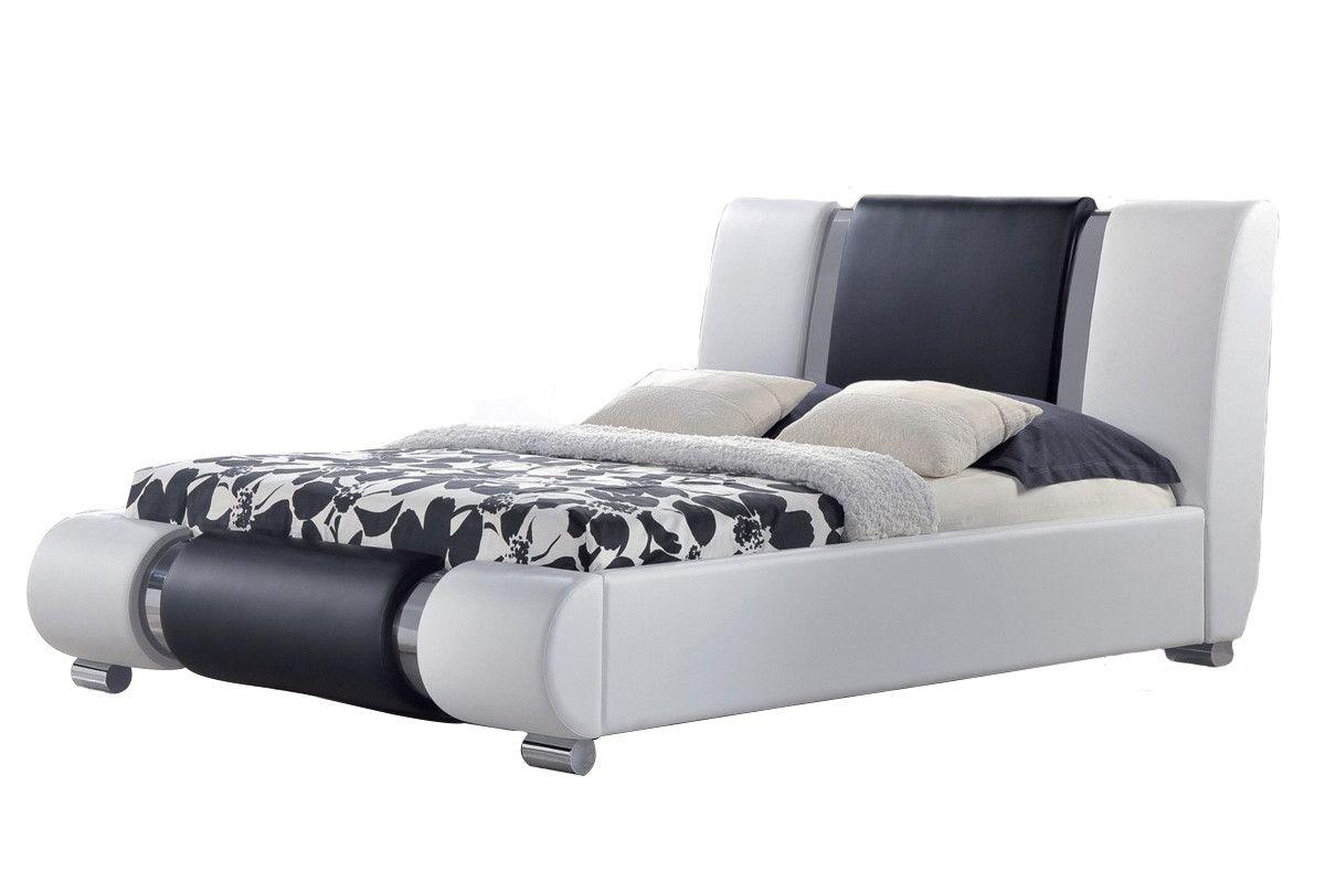Luxury designer bed in white u black faux leather furniture