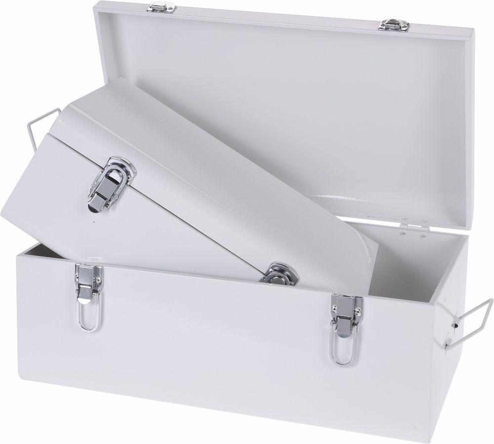 Set of 2 Stowaway Boxes. Large White Metal Storage Boxes Retro Storage Boxes #Koop  sc 1 st  Pinterest & Set of 2 Stowaway Boxes. Large White Metal Storage Boxes Retro ...