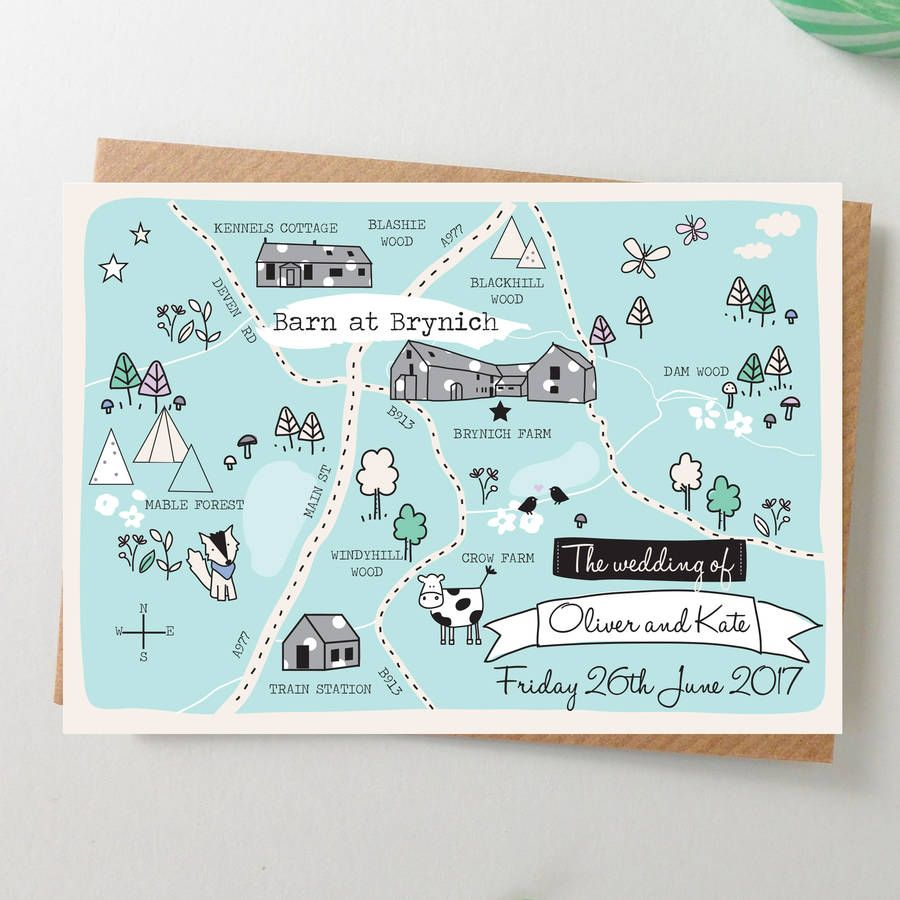 A Beautiful Bepsoke Illustrated Map Wedding Invitation With Fun Whimsical FeelYour Will