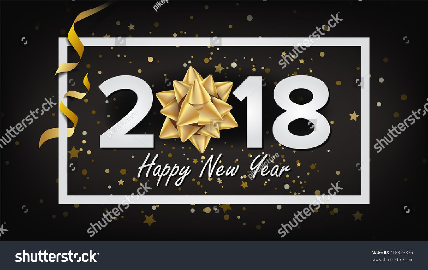 2018 Happy New Year Vector. Christmas Greeting Card, Poster ...
