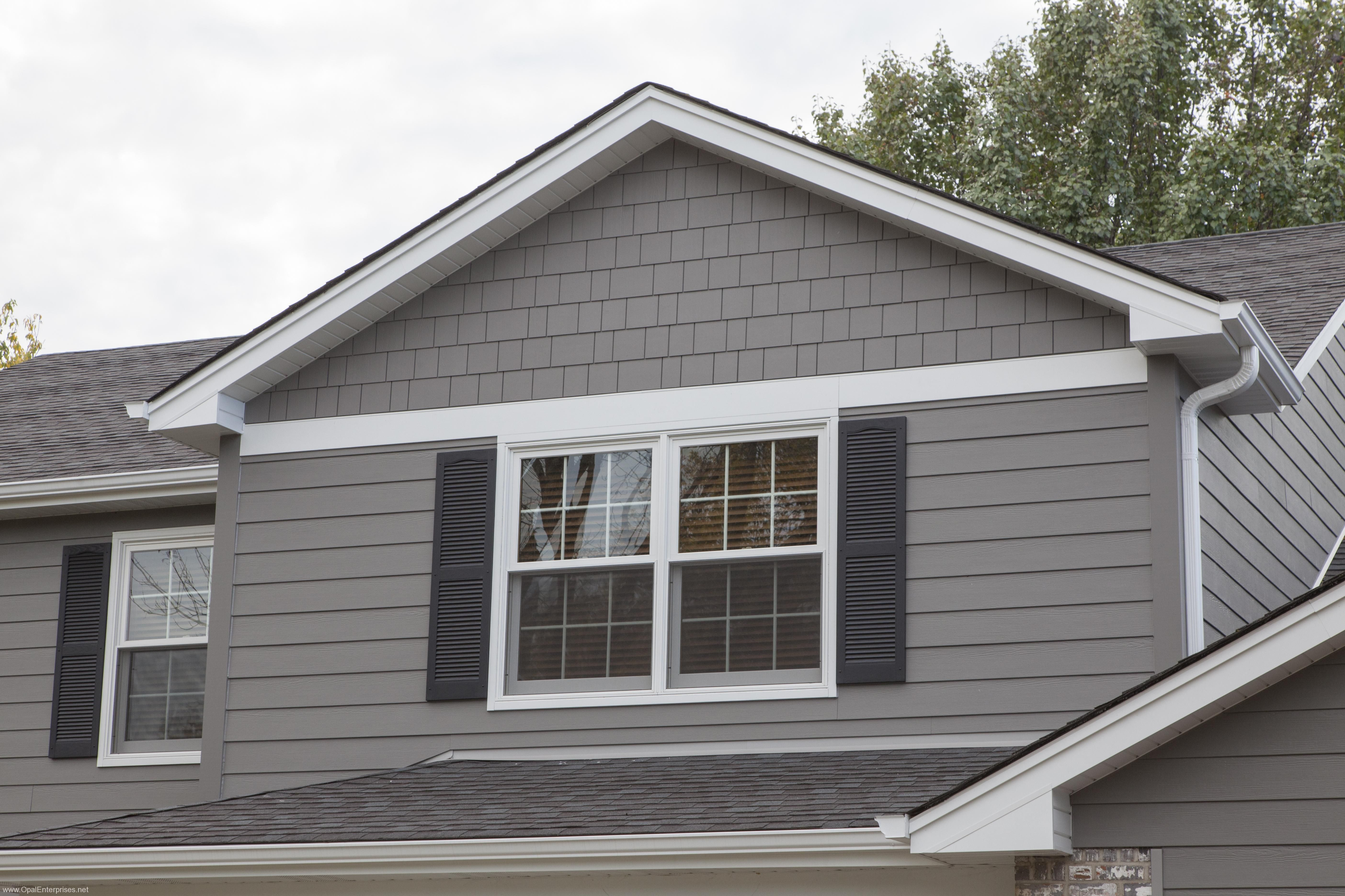 Aged Pewter Hardie Siding In Straight Edge Shake And 7 Lap Plank House Siding Siding Colors For Houses House Siding Options
