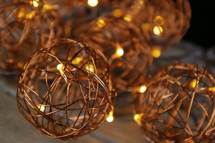 Led Copper Wire Ball Patio Lights Battery Operated Timer Feature Lampen