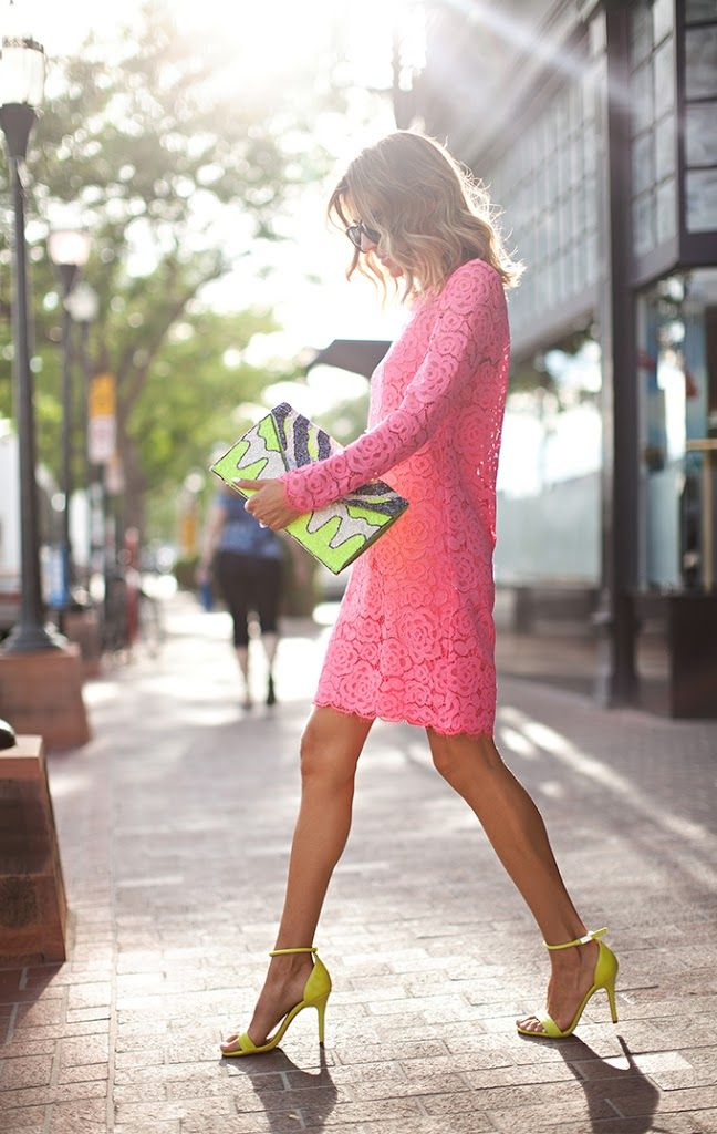 pink lace + citron heels